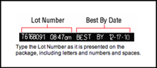 Type the lot number as it is presented on the package, including letters and numbers and spaces.